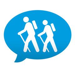 Etiqueta tipo app azul comentario simbolo senderismo