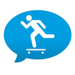 Etiqueta tipo app azul comentario simbolo skateboard