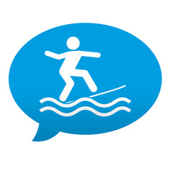 Etiqueta tipo app azul comentario simbolo surf