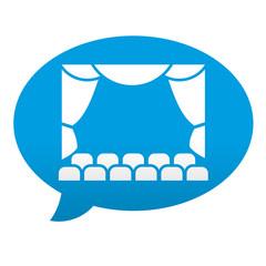 Etiqueta tipo app azul comentario simbolo teatro