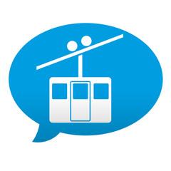 Etiqueta tipo app azul comentario simbolo teleferico