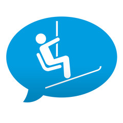Etiqueta tipo app azul comentario simbolo telesilla