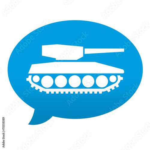 Etiqueta tipo app azul comentario simbolo tanque