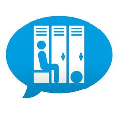 Etiqueta tipo app azul comentario simbolo vestuario