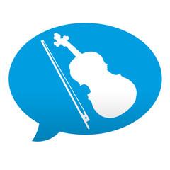 Etiqueta tipo app azul comentario simbolo violin