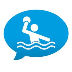 Etiqueta tipo app azul comentario simbolo waterpolo