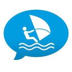 Etiqueta tipo app azul comentario simbolo windsurf