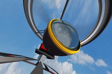 High Tech Broadcast Camera Drone Wide Lens 3D artwork
