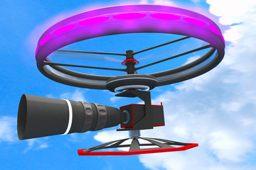 High Tech Broadcast Camera Drone Telephoto Lens 3D artwork