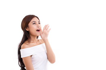 portrait of woman speaking, shouting, communicating