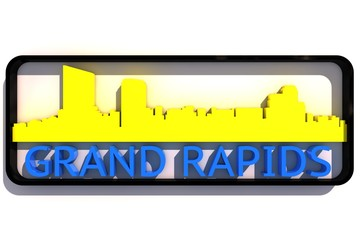 Grand Rapids USA base colors of the flag of the city 3D design