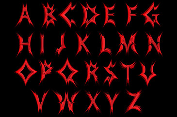 Acute red letters of the alphabet .