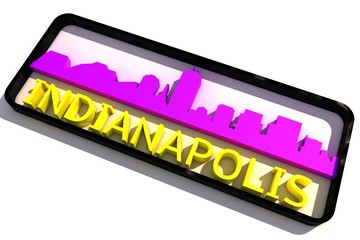 Indianapolis USA base colors of the flag of the city 3D design