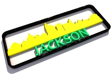 Jackson USA base colors of the flag of the city 3D design