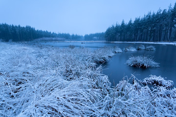 wild lake in snow