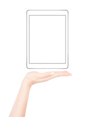 Female hand presents blank tablet