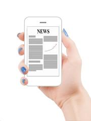 Business news on smartphone display