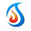 Wasser und Feuer - Heizungsbauer Zeichen