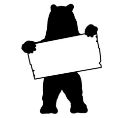 sp1 - SignPost - bear with blank signpost in black - g1710