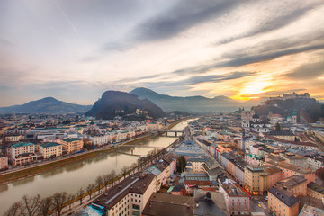 Sunrise view of the historic city Salzburg
