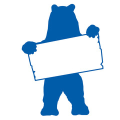 sp3 - SignPost - bear with blank signpost in blue - g1712