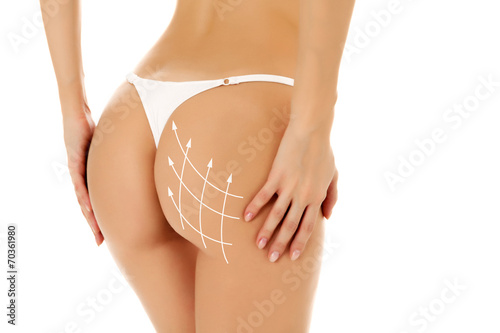 Female body, white background, isolated