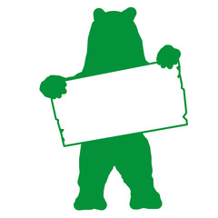 sp4 - SignPost - bear with blank signpost in green - g1713