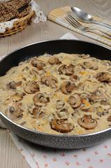 Fried mushrooms in a creamy sauce