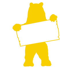 sp7 - SignPost - bear with blank signpost in yellow - g1716