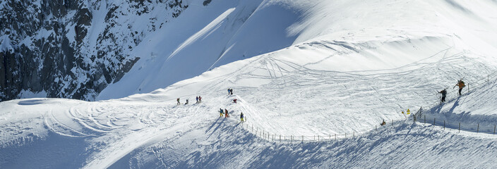 skiers near the Mont-Blanc