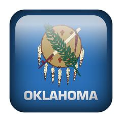 Square flag button - Oklahoma