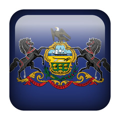 Square flag button - Pennsylvania