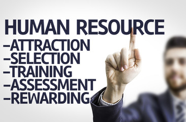 Business man pointing the text: Description of Human Resource