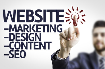 Business man pointing the text: Description of a Website