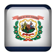 Square flag button - West Virginia