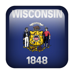 Square flag button - Wisconsin