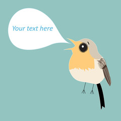 robin bird with bubble for text