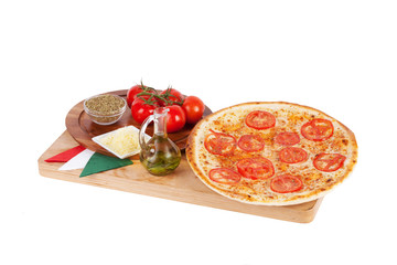 Italian pizza with cheese, tomatoes, olive, herbs, oregano, spic