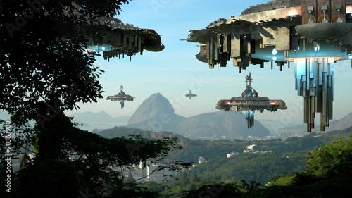 Leinwanddruck Bild Alien spaceships invading Rio De Janeiro