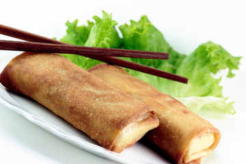Spring rolls and chop sticks