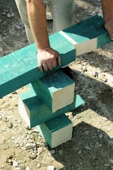 wood, beams, cut, traditional, wood, hands, safety,