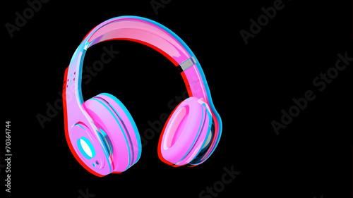 canvas print picture headphone on isolated background