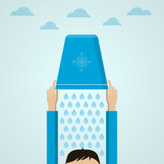 Ice Bucket Challenge. Flat illustration.