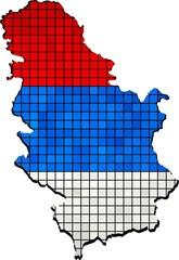 Serbia map grunge mosaic