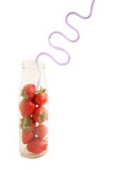 Strawberries and drinking straw