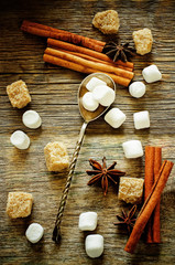 marshmallow with cinnamon, star anise and cane sugar