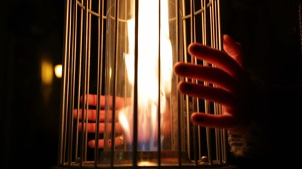 burning flame in the gas heater