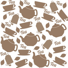 Tea pattern of cups and teapots
