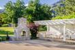 Backyard Patio with Gazebo and Brick Fireplace