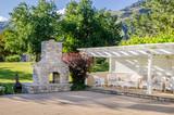 Backyard Patio with Gazebo and Brick Fireplace - 70367500